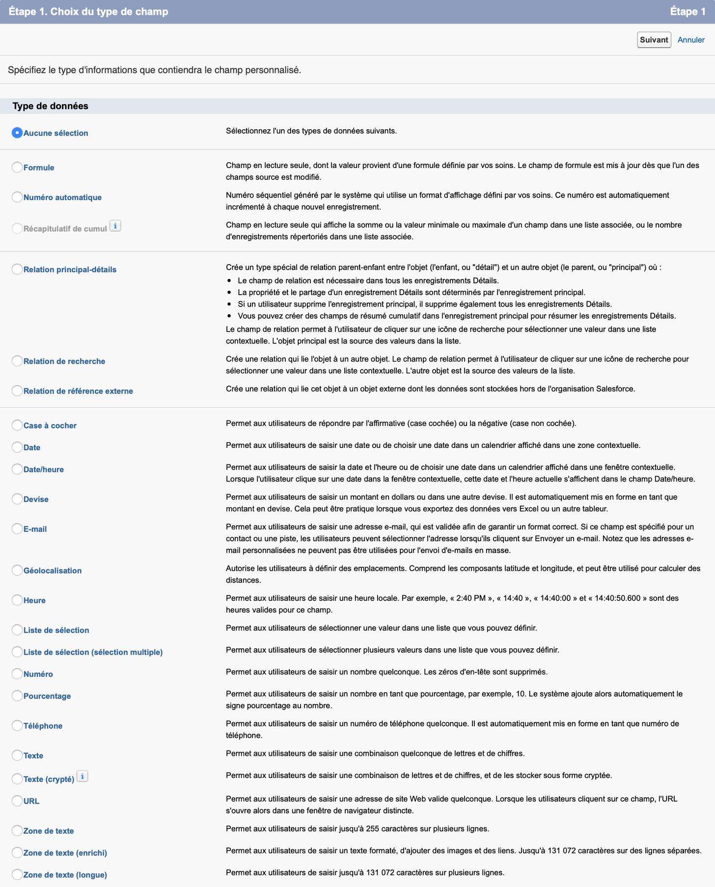 Ecran de configuration SalesForce